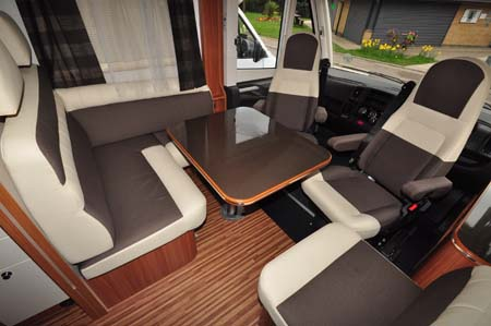 Adria Sonic Plus I 700 SC motorhome seating area
