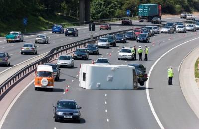 Motorway accident - caravan overturned on M27 causing delays