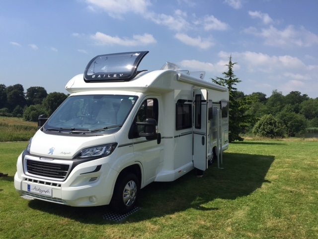 Bailey Autograph motorhome with sunroof open