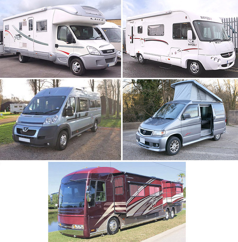 Types of motorhome collage