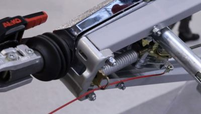 Breakaway cable attached to caravan handbrake