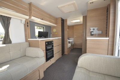 2019 Adria Adora 623 DT Sava caravan interior looking back