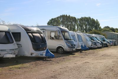 Caravans and motorhomes at secure storage site