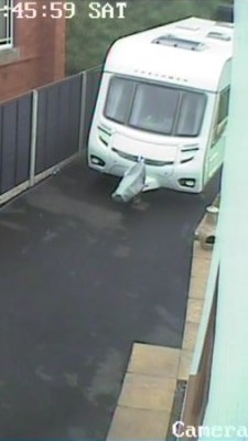 CCTV shot of caravan stored at home