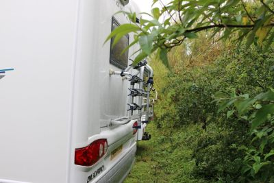 Beware of trees and bushes behind your motorhome