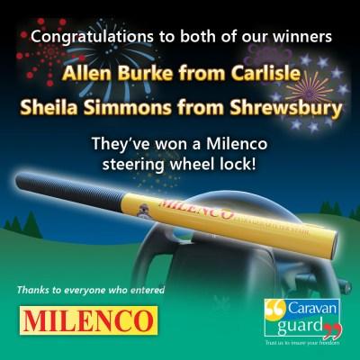 Milenco steering wheel lock competition winners