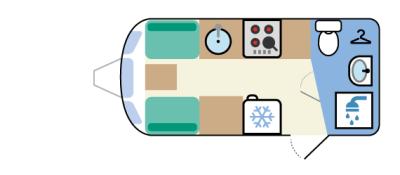 Rear washroom, twin settee front lounge, side kitchen caravan layout