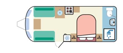 Transverse island bed, full-width end washroom caravan layout
