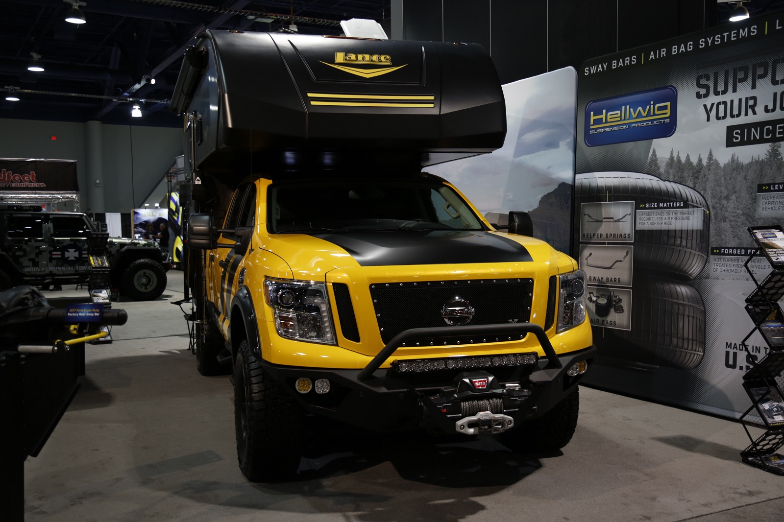 sema  hellwig products nissan titan xd build  ready   overlanding carblog