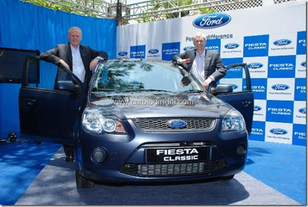 Michael Boneham, President and Managing Director, and Nigel E Wark- Marketing Director-Ford India at the launch of New Fiesta Classic in Chennai