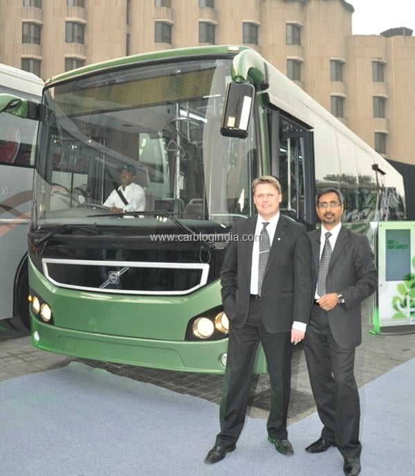 Hakan Karlsson, President, Volvo Bus Corporation and Akash Passey,MD&CEO, Volvo Buses, South Asia at Volvo Buses launch press conference, Delhi, Dec 29, 2011