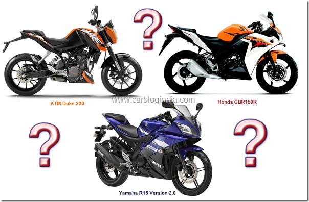 Honda CBR150R Vs KTM Duke 200 Vs Yamaha R15