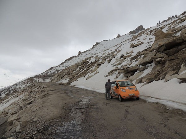 Mr. Chacko driving down from Khardung La