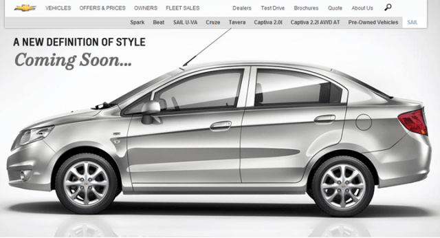 Chevrolet Sail Official Website India