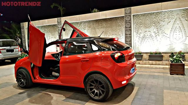 modified maruti baleno scissor doors red images