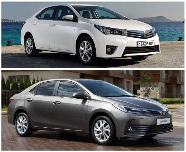 toyota corolla altis old vs new front angle