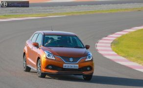maruti baleno rs test drive review images front angle action