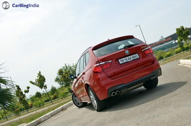 bmw x3 m sport test drive review rear angle
