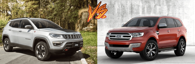 jeep compass vs ford endeavour comparison front angle image