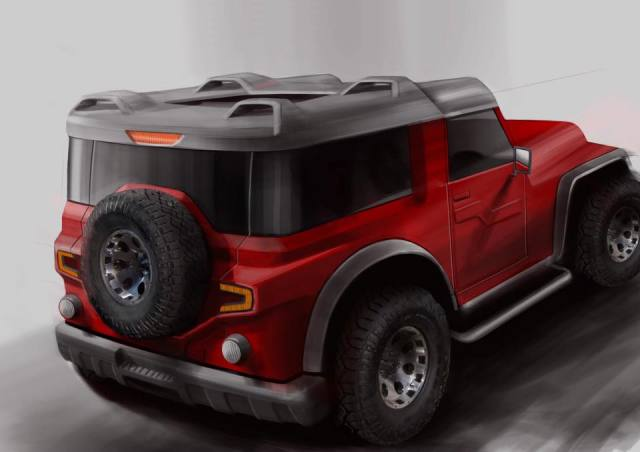 modified mahindra thar by dc design rear