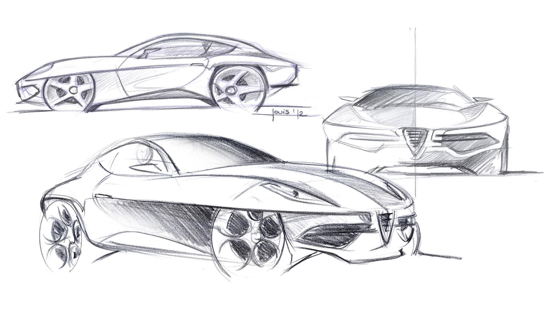 Touring Superleggera Disco Volante Concept Design Sketches