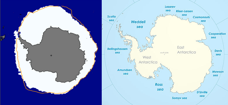 Antarctica winter map