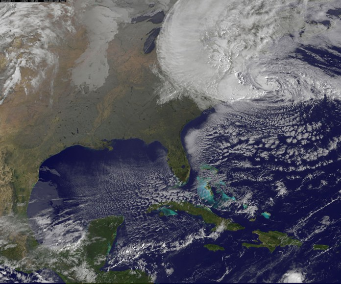Satellite view of Hurricane Sandy on 29 Oct 2012