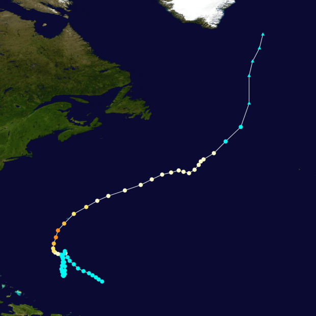 Storm track of Hurricane Nicole in 2016. Credit: Created by Cyclonebiskit using WikiProject Tropical cyclones/Tracks. Background image is from NASA. Tracking data from the National Hurricane Center's running best track.