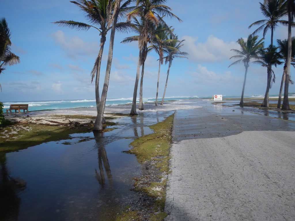 Flooding event on Kwajalein Atoll in the Republic of the Marshall Islands in March 2014.
