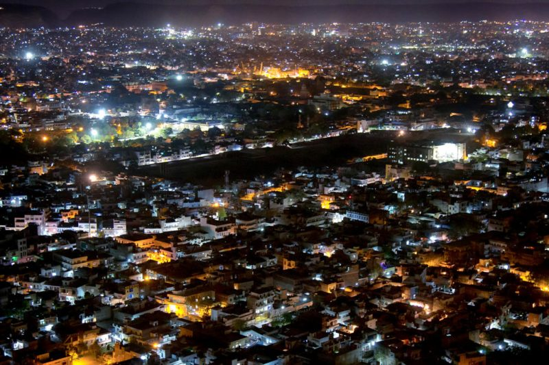Aerial view of Udaipur, India, at night. Credit: Zoonar GmbH / Alamy Stock Photo. WXC75D