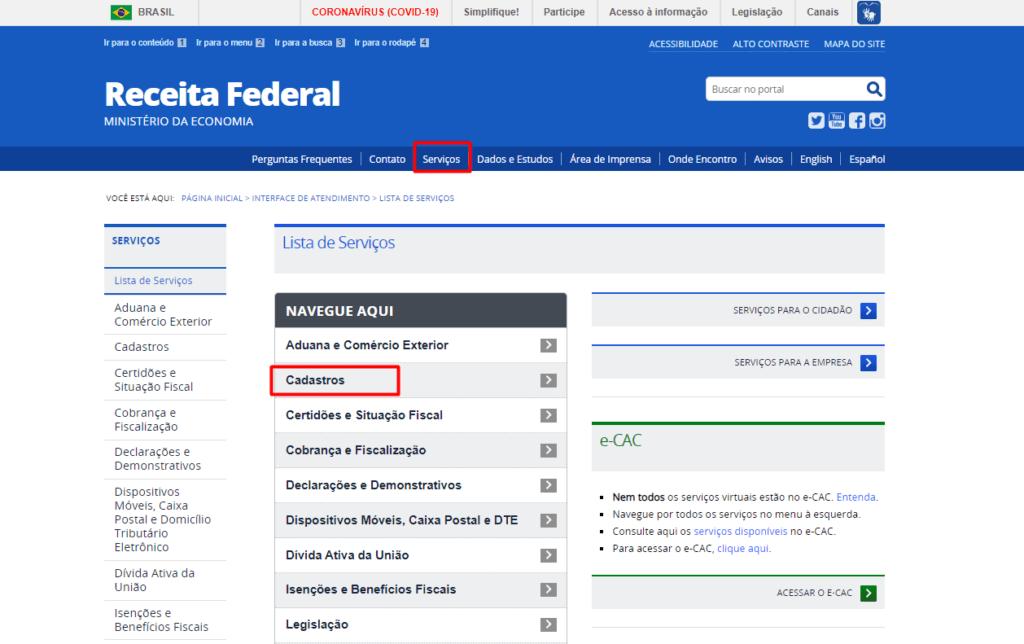 Serviços e cadastro da Receita Federal - Regularizar CPF