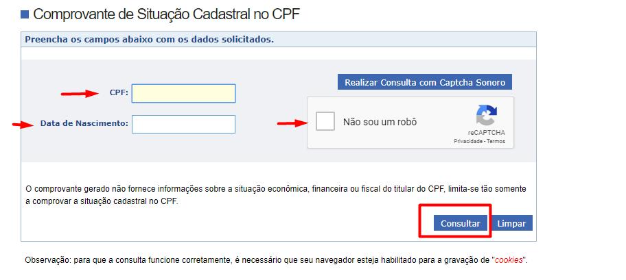 comprovante de situação cadastral CPF - Carbonera e Tomazini