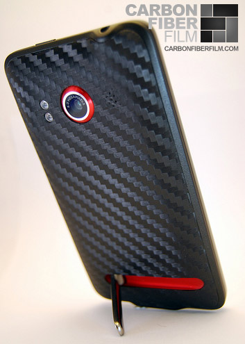 HTC Evo 4G with carbon fiber DI-NOC vinyl installed on it