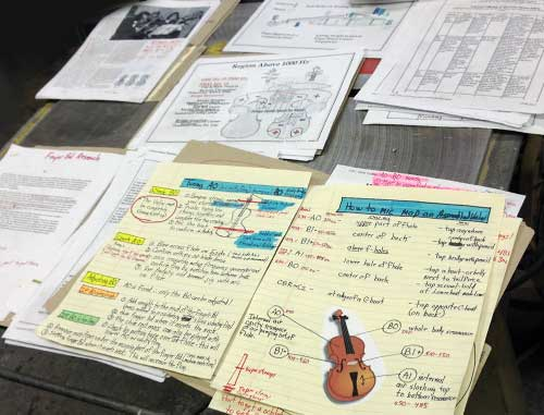 Notes used to collect results of various tests
