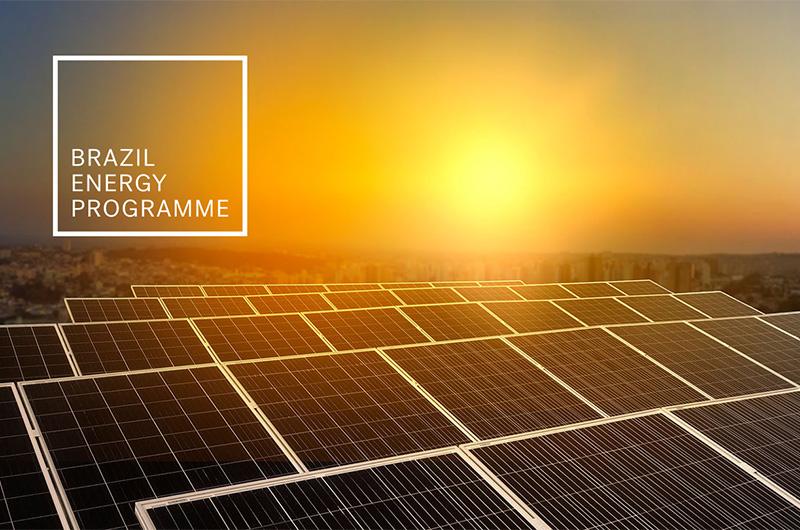 Sun setting on Solar Panels in Brazil