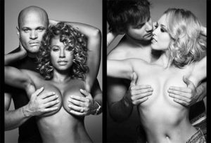 Mel B (Spice Girl) and Jorgie Porter's take on Janet Jackson's Rolling Stones iconic cover as seen on the Coppafeel.org website.