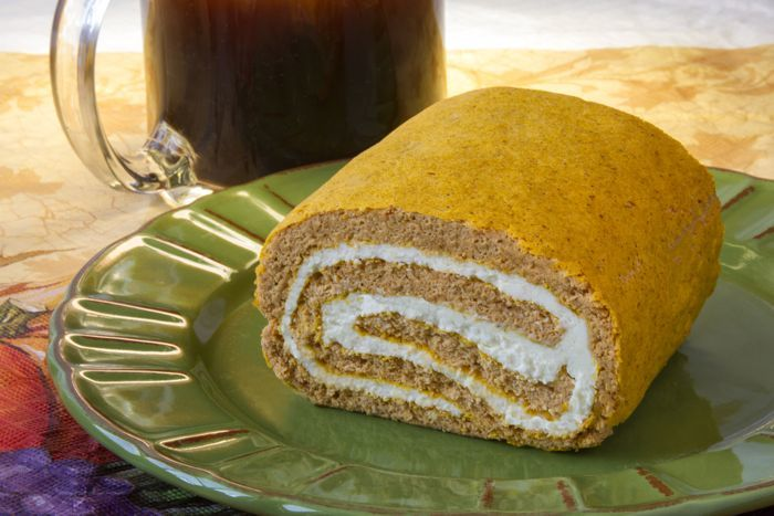 Parke County Pumpkin-Cream Cheese Roll Recipe from CarbSmart Low-Carb & Gluten-Free Holiday Entertaining Cookbook