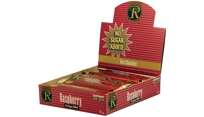 Milk Chocolate with Raspberry No Sugar Added Bars by Ross Chocolates