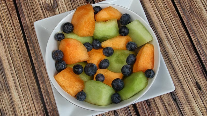 Cantaloupe and Honeydew Chunks with Blueberries