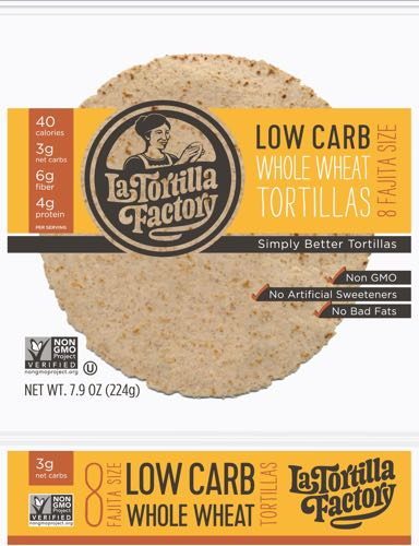 La Tortilla Factory Low Carb Whole Wheat Fajita Size