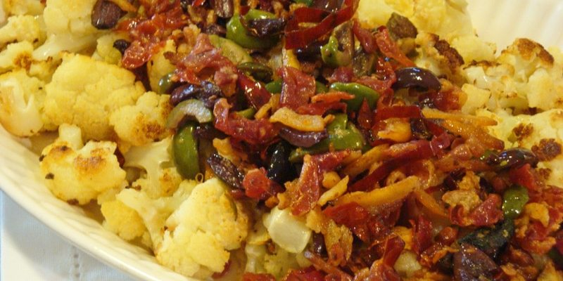 ROASTED CAULIFLOWER WITH BACON, LEMON PEEL,  CHILIES, AND OLIVES