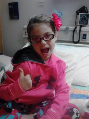 Emily Wilkinson in hospital