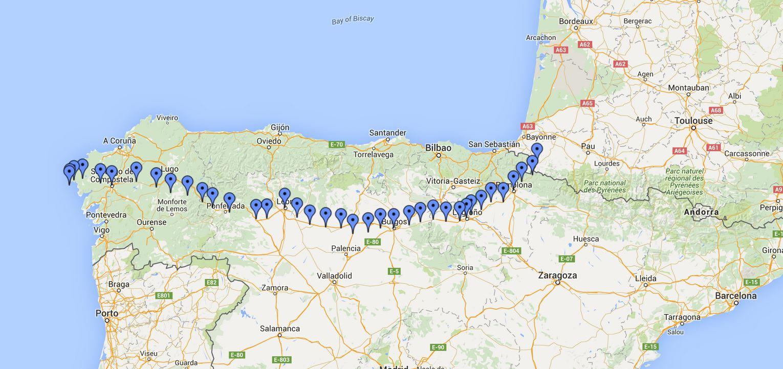 El Camino de Santiago map - Carcinoid Cancer Foundation on