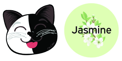 Jasmine with Black and White Cat