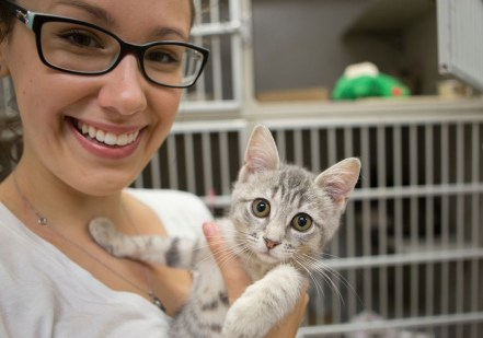 PAWS Volunteer with Cat