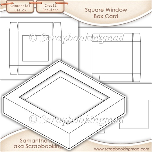 Window Box Card Square Window Template Commercial Use OK