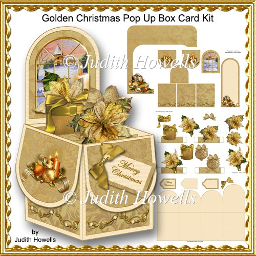Golden Christmas Pop Up Box Card Kit 120 Instant