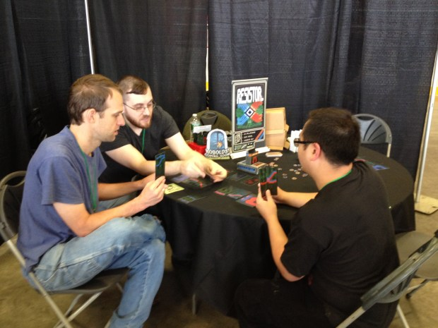 These were some of the first people to play RESISTOR_ at Boston FIG.