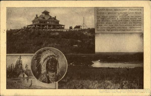 Summit House. Wachusett Mountain and view as Wachusett Lake from Summit House Vintage Postcard