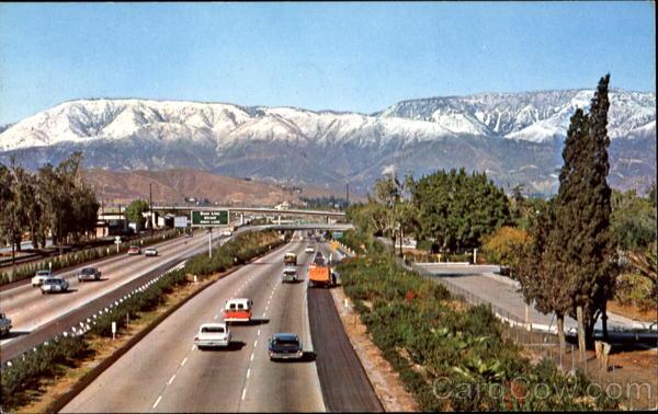 Snow Covered San Bernardino Mountain Range Scenic CA